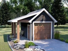 Practical one-car garage plan adds extra parking to your backyard and features a covered porch and country details; Detached Garage Designs, Design Garage, Shed Design, House Design, Garage Plans With Loft, Plan Garage, Garage Shed, Garage Ideas, Garage Workbench