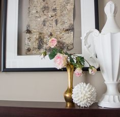 framed birchbark in a vignette with brass vase with roses Birch Bark, Small Tables, Hanging Art, Home Look, Vignettes, Roses, Interior Design, Create, Wall