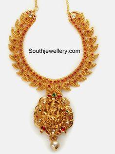 mango necklace with lakshmi pendant
