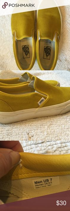 Cans slip on suede shoes men's size 7, women's 8.5 Great slip on shoe in a fun yellow ochre color. Great shape, not worn often! Vans Shoes Sneakers