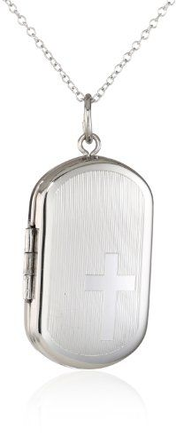 Momento Lockets Sterling Silver Rectangle Shaped Locket with Cross Necklace >>> You can find more details by visiting the image link. (This is an affiliate link) #Necklaces