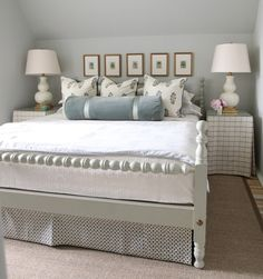 SKIRTED SIDE TABLES Small sleeping spaces seem larger with tone-on-tone colors and patterns.  The larger lamp shades also expand the visual width on either side of the pictures. urban grace interiors
