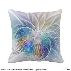 Floral Fantasy, abstract and modern Fractal Art Throw Pillow