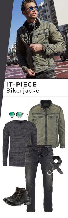 Ein bisschen Military, ein bisschen Rock und ganz viel urbaner Style! Das Outfit mit Bikerjacke, Jeans und Rundhalspullover von Bruno Banani ist mega gemütlich und gleichzeitig zeitlos stylish. Eins für jeden Tag!
