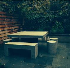 Genial Lightweight Concrete Furniture   Slab Table 5u0027 With Dock Stools And Aspen  Bench. Great