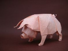 origami pig without turorial Origami Pig, Origami Bowl, Origami Mouse, Origami Star Box, Origami And Kirigami, Origami Dragon, Paper Crafts Origami, Origami Easy, Oragami