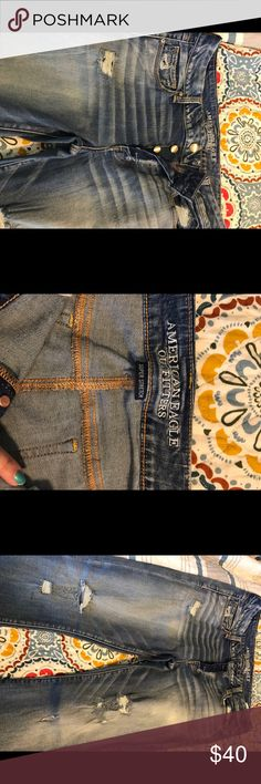 American Eagle jeans boot cut super stretch Brand New without tags American Eagle jeans boot cut super stretch. Distressed and has buttons that garden jeans. American Eagle Outfitters Jeans Boot Cut