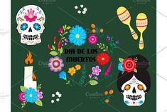 Colorful symbols Dia De Los muertos holiday day of the dead vector. by KitVector on @creativemarket
