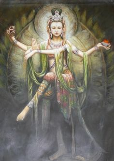 Goddess Durga (Parvati), consort of Lord Shiva -- the power behind all creation, preservation and destruction in the Universe. (One of the forms taken by Goddess Shakti to fight demons.)