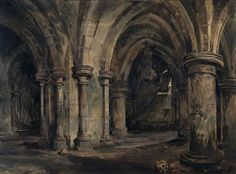 Samuel Prout (1783-1852) - The Crypt of Canterbury Cathedral
