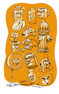 Image drawing faces on inanimate objects hosted in Life Trends 1 Drawing Cartoon Characters, Cartoon Drawings, Cute Drawings, Daily Cartoons, Character Illustration, Illustration Art, Ap Studio Art, Object Drawing, Animation Tutorial