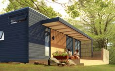 Architecture, Minimalist Wooden Prefab Studio Ideas With Wooden Canopy Terrace And Maple Flooring Also Black Wall Exterior Finish: Minimalist Prefab Studio Ideas Modern Mobile Homes, Modern Modular Homes, Container Home Designs, Container Homes, Prefab Garages, Maple Floors, Casas Containers, Canopy Architecture, Wall Exterior