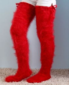 SUPERTANYA Hand knit long mohair socks fuzzy stockings BRIGHT RED leg warmers  #SuperTanya #Casual