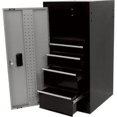 4-Drawer Side Locker - Black, 16in.W