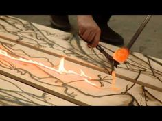 Artistic Process- Jonah Ward - Presented by 12 Gallagher Lane. Hot glass burning organic shapes on wood.