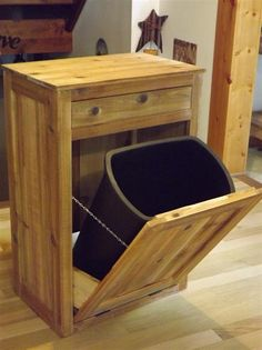 Distressed/ Reclaimed Wood/ Crate/ Tilt out/ Trash/ Bin/ Cabinet/ Recycling/ Can. $250.00, via Etsy.