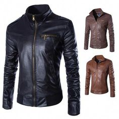 e00c49458a75d Buy LASPERAL Newest Motorcycle Leather Jackets Men Solid Business Casual  Coats Autumn Winter Leather Clothing Bomber Jacket for Male