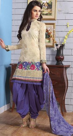 $45.09 Cream Embroidery Cotton Punjabi Salwar Kameez 23683
