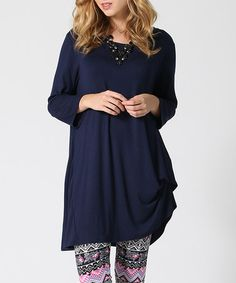 Look what I found on #zulily! Navy Asymmetric Three-Quarter Sleeve Tunic #zulilyfinds