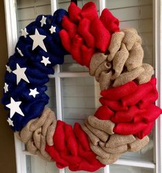 This unique burlap wreath would be great for a patriotic holiday or an everyday home decoration. Good for indoor or outdoor use but better in a covered area. This wreath measures 21 across and 4.25 deep.    Made of a wire wreath frame, navy and red burlap, burlap, and wooden stars.    I take pride in all of my wreath and make sure that each of them are made of great quality. Each wreath is unique and none of them are exactly alike. If for some reason you are not completely satisfied please…