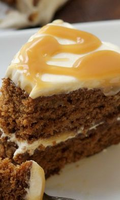 maple-gingerbread layer cake with salted maple caramel sauce ~ A tender gingerbread spice cake is infused with maple flavor in the form of the maple caramel sauce and maple pecans, and covered in a brown sugar frosting.