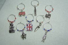 Great Britain London 2012 olympics Jubilee year wine glass charms unique Party novelty table decoration via Etsy.