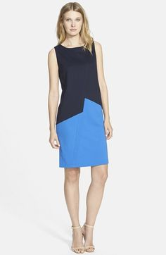 Lafayette 148 New York Asymmetrical Punto Milano Shift Dress available at #Nordstrom <-- Construction and fit reference for 'Frankendress'