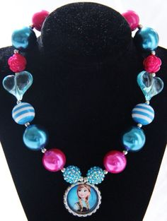 Frozen anna bubblegum necklace chunky beads bottle cap , What a fun idea! Get your supplies at www.fizzypops.com...DIY and save!