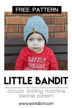 a free knitting machine pattern by Savlabot 🙂 and a free PDF Hang Tag File! Beanie Knitting Patterns Free, Knit Beanie Pattern, Knitting Help, Knitting Paterns, Baby Hats Knitting, Loom Knitting, Knitting Ideas, Knit Patterns, Knitted Hats