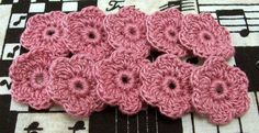 Crochet Dusty Rose Flowers by FineThreads on Etsy, $3.50