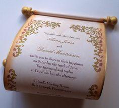 renaissance wedding invitations | Wedding invitation scroll with aged damask by ArtfulBeginnings