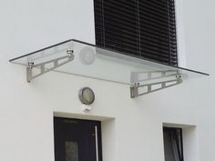 Auvent d'entrée en verre AL-SKY® Easy LängleGlas GmbH Over Door Canopy, Porch Canopy, Awning Canopy, Narrow Balcony, Canopy Glass, Pergola, Canopy Design, Glass Roof, Entrance Doors