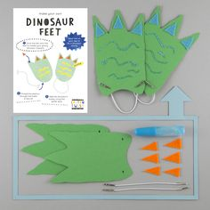 Make your own Dinosaur Feet craft activity. Dinosaur Party Bag idea for 3-8 year olds. For boys and girls with imaginations. Creative party bag ideas.