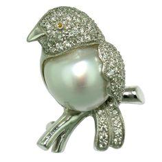 Bird Brooch Diamond South Sea Baroque Pearl