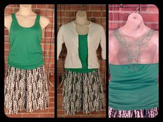 American Rag green beaded back tank, drawstring waist L $8; Kersh white flair waist cardigan XL $14; Liz Claiborne full black/white skirt 12 $12