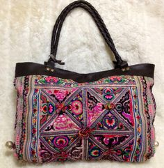 Rare Vintage Hill Tribe fabric bag with by CleopatrasClosetShop, $169.00