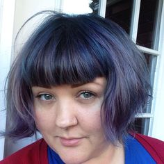Gave myself a blue retouch shadow root type thing #bluehair#purplehair #shorthair #bangs #fringe #funhair by oldmckinsey