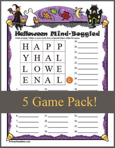 kids halloween party games printable games for young children who am i halloween memory match halloween corners halloween party pinterest - Halloween Word Game