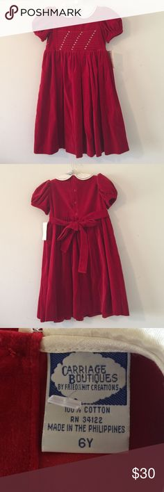 "Carriage Boutiques Red Youth Girl Dress Sz 6 Years Carriage Boutiques by Friedknit Creations Red Youth Girl Short Sleeve Dress. Size 6 Years, Sleeve Length 5.5"", Bust 12.5"", Shoulder 9.5"", Length 27"". Machine Wash Cold Tumble Dry Low Carriage Boutiques Dresses Formal"