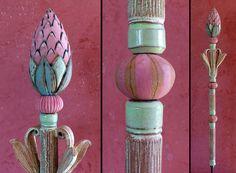 "Gartenkugeln & -stelen - Gartenschmuck ""BLÜTENSTELE"" maigrün-rosa - ein Designerstück von Brigitte_Peglow bei DaWanda"