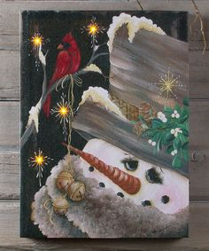 Take a look at this Snowman & Cardinal Light-Up Canvas today!