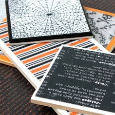 Use scrapbook paper and cheap hardware store tiles to create some great display platters for Halloween