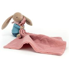 Jellycat Little Rambler Bunny Soother Pink Blanket, Jellycat, Blue Trousers, Baby Comforter, Bold Stripes, Baby Store, Natural Baby, Classic Toys, Cloth Diapers