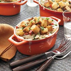 Chicken Cobbler Casserole | Buttery cubes of sourdough rolls make a quick and crunchy topping for this speedy twist on chicken pot pie. #Recipe
