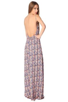 Q2 Blue Maxi Dress In Paisley With Open Back