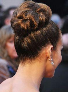 JLO's bun hairstyle