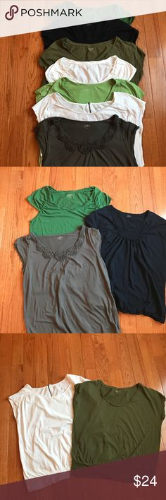 7 Loft T Shirts 7 Size L Loft T-Shirts.  They are different colors and styles.  All have been washed and worn a few times but are in Good Condition still. LOFT Tops Tees - Short Sleeve
