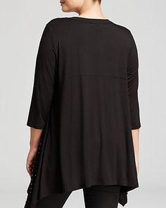 Karen Kane Plus Size Fashion Black Studded Front Tunic | Bloomingdale's BLACK PLUS SIZE 3/4 SLEEVE STUDDED HANKY TOP #Plus #Size #Fashion #Black #Silver #Crystal #Embellished #Chic #Stylish #Holiday #Party #Elegant #Evening #Hanky #Top #Plus_Size_Fashion