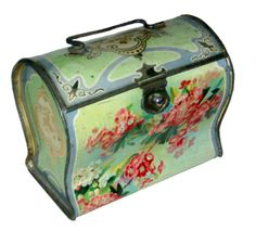Biscuit tin shaped like a briefcase with handled lid, light green, roses