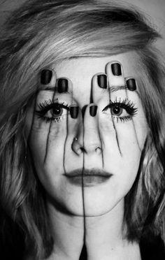 Hands #face #BW portrait Brilliant Double Exposure